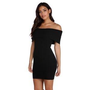 Off Shoulder Black Sweater Dress